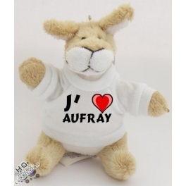 "Peluche kangourou porte-clé ""J'aime Aufray"""